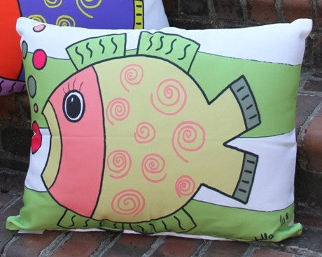 Fishy Pink Green Outdoor Pillow