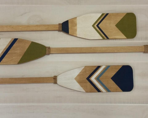 Wood Painted Oars, Set of three