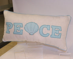 Coastal Peace Christmas Pillow in Aqua