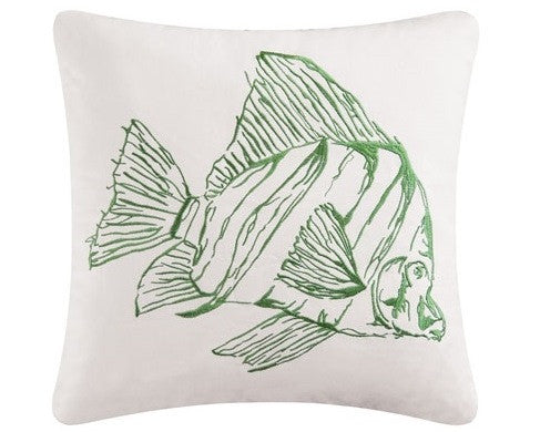 "Reef Point Fish Embroidered 18x18"" Pillow"