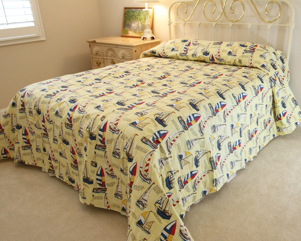 Yellow Sailboat Bedspread