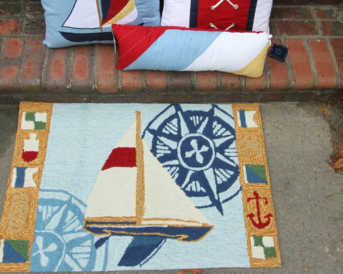 Sailboat & Compass Carefree Rug