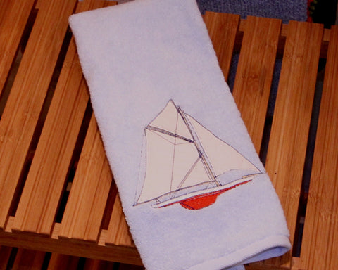 Sailing Embroidered Towel