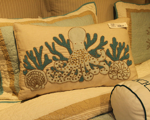 Saltwater Serenity Beaded Octopus Pillow