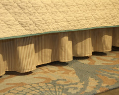 "Beige & Tan Stripe 14"" Bedskirt"