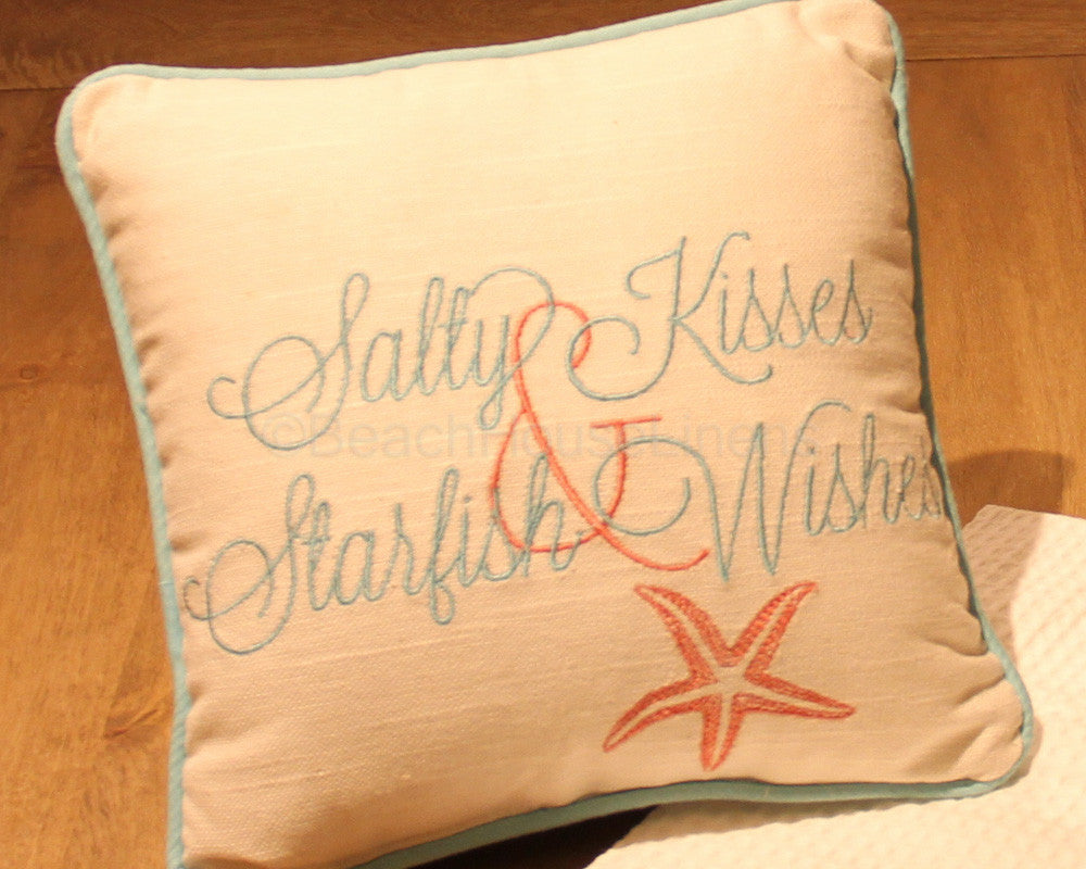 """Salty Kisses & Starfish Wishes"" Pillow"