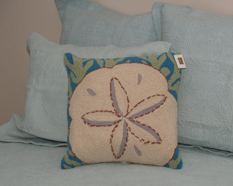 Sanddollar on Coral Hook Pillow