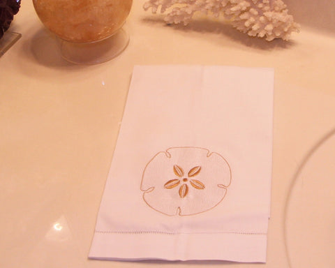 Sanddollar Embroidered Guest Towel