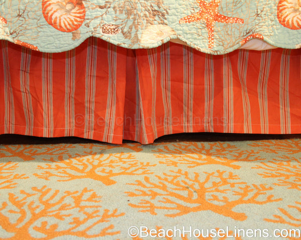 Coral Stripe Bedskirt Is Vivid And Bold Love With Sealife