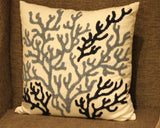 Beach House Coral Blue Square Pillow