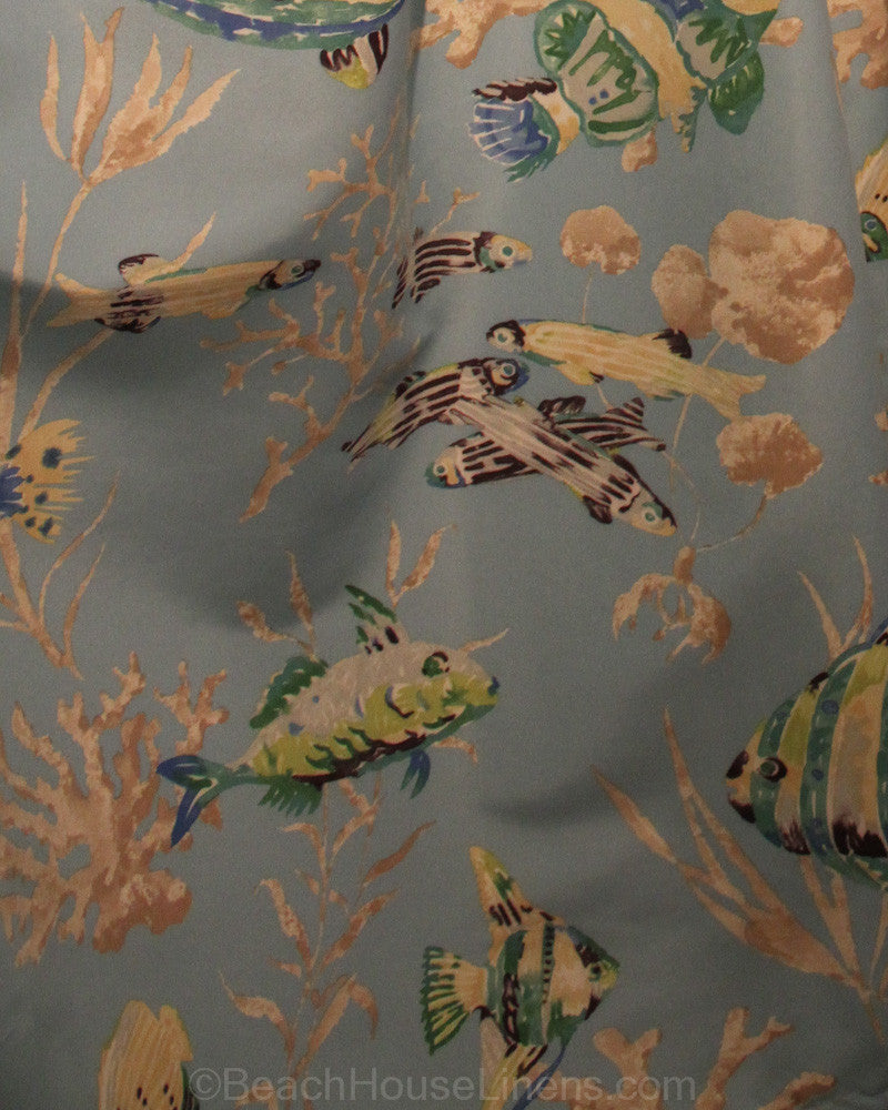 Under the Sea Blue Fish Shower Curtain