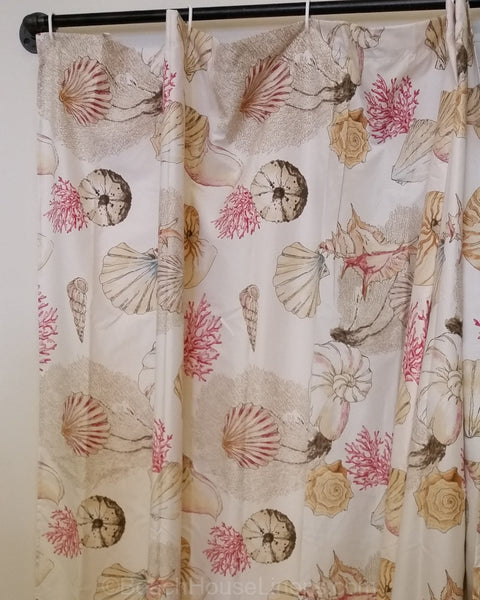Shells Shower Curtain Scattered Shells In Warm Red And