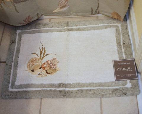 Seashore Embroidered Bath Rug