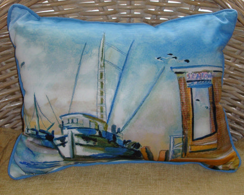 Shrimp Boat Art Pillow