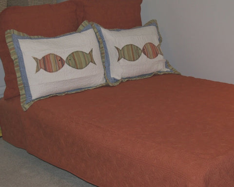 Terracotta Square Quilted Coverlet