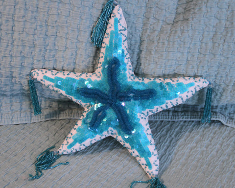 Starfish Sequin Pillow