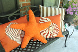 Orange Striped Nautilus Outdoor Pillow
