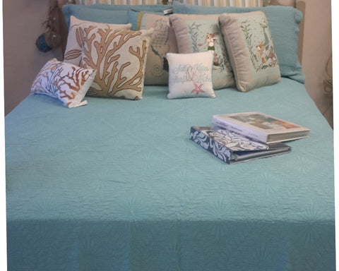 Suzi Sea Floral Teal Coverlet