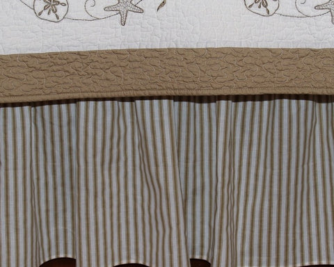 "Taupe Ticking Stripe 18"" Bedskirt"