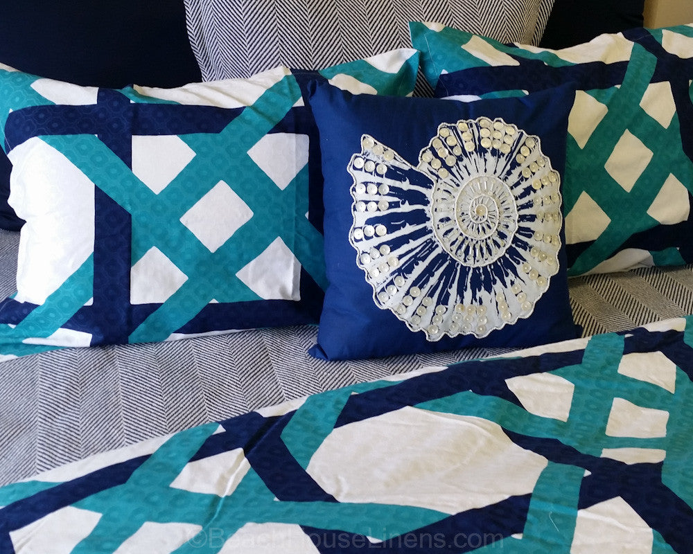 Shell Beaded Sealife Pillows On Navy Are So Detailed And