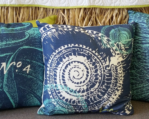 Trochus Shells Aqua Feather and Down Pillow