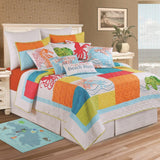 "18"" Pintuck Bedskirt with Tropic Escape Quilt from C&F Enterprises"