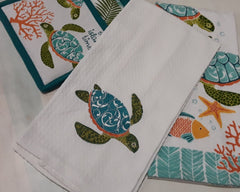 On Island Time Embroidered Turtle Waffle Towel