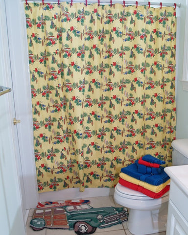 Yellow Woodie Car Shower Curtain