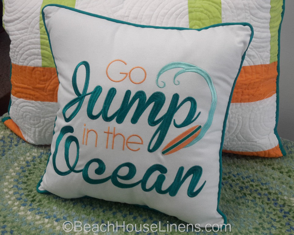 Quot Jump In The Ocean Quot Pillow Beach House Linens