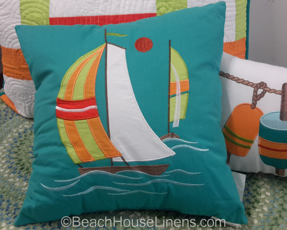 Zuma Bay Embroidered Sailboat Pillow