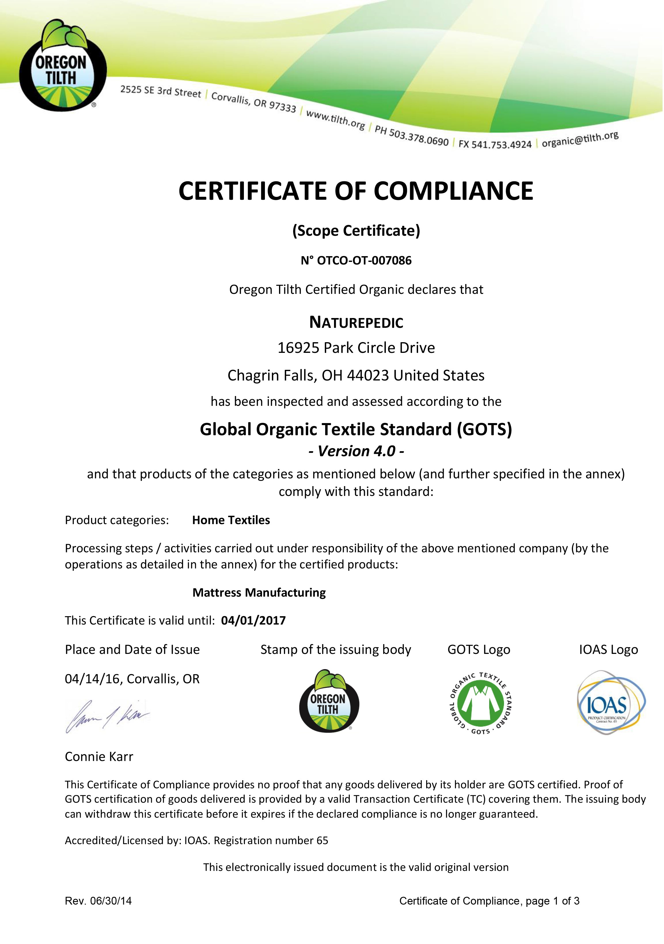 OTCO GOTS Certification