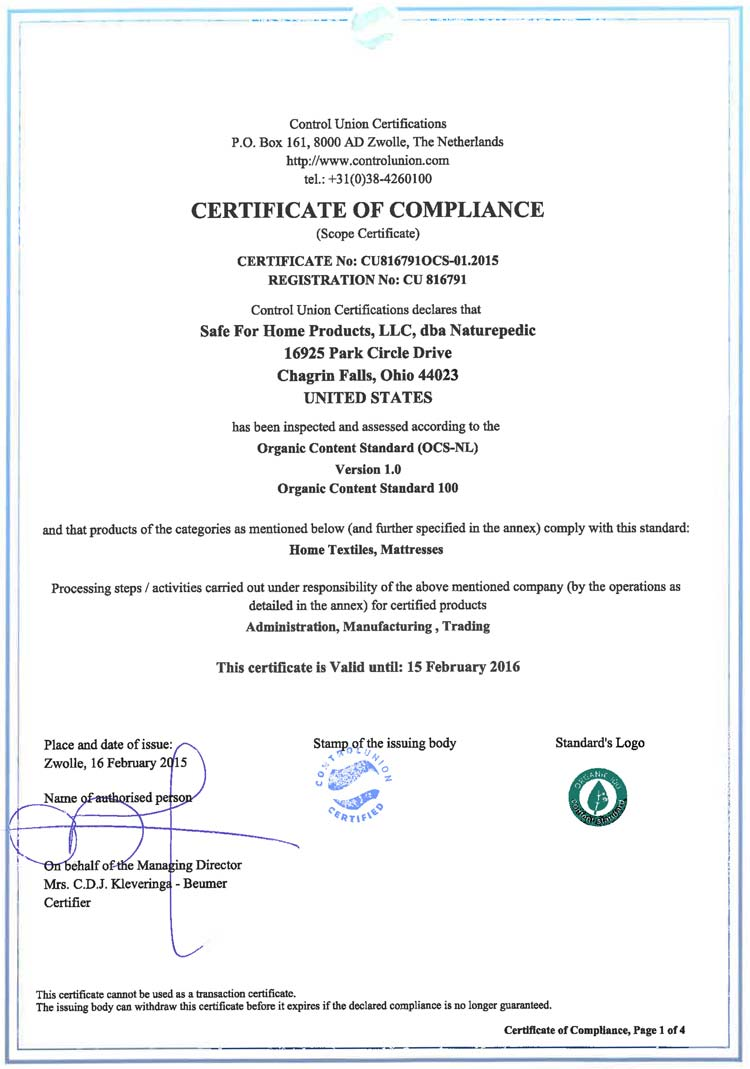 Naturepedic GOLS Certification