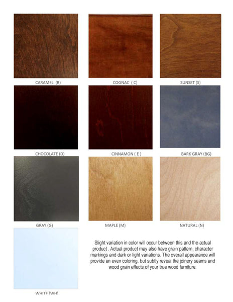 Stain Chart for WallBeds