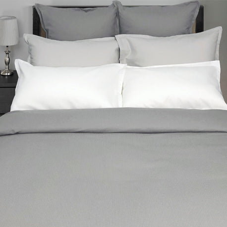 Picque Duvet Cover and Shams in all 3 colours including White, Glacier, and Dove Grey.