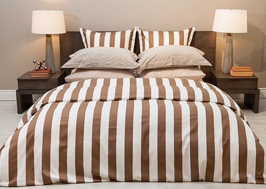 Bedding & Bed Linens - Cuddledown Monaco Cinnamon Stripe