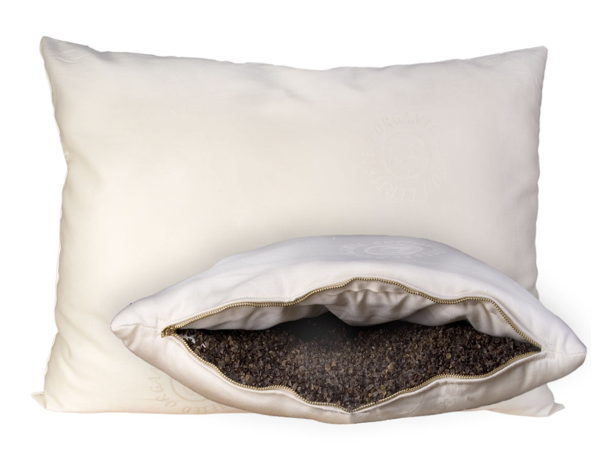 Wool-Wrapped Organic Pillow Buckwheat-Hull Pillow - Luxurious Beds and Linens