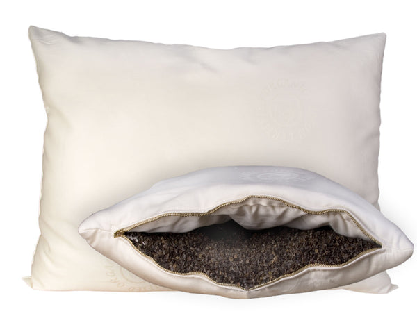 Wool Wrapped Organic Pillow Buckwheat Hull Pillow