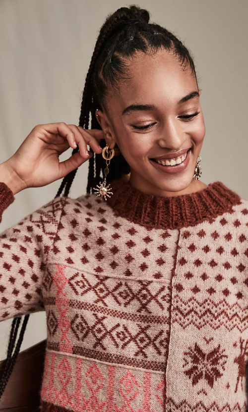 Free People Snow Globe Pullover - Gingerbread Cookie Combo