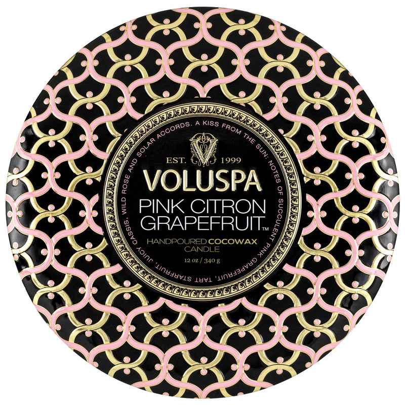 Voluspa 3 Wick Tin Candle - Pink Citron Grapefruit