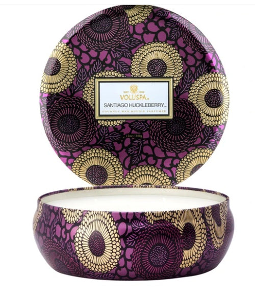 Volupsa 3 Wick Tin Candle - Santiago Huckleberry