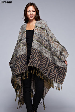 Ethnic Knit Poncho Sweater