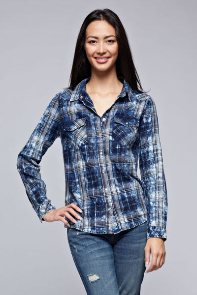 Single Twill Bleach Wash Plaid Top