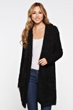 Long Sleeve Hooded Open Cardigan
