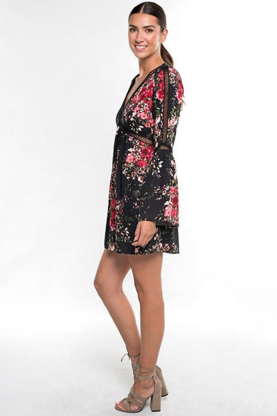 Bell Sleeve Floral Dress