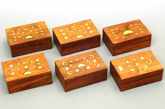 Wood/Brass Celestial Boxes Set/6