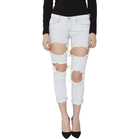 Flying Monkey Women's Ripped Torn Boyfriend Crop Length Jean, Light Blue - Anonymous L.A.