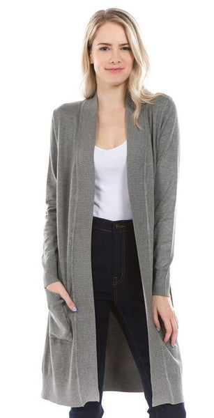 Long Open Front Cardigan w/Pockets