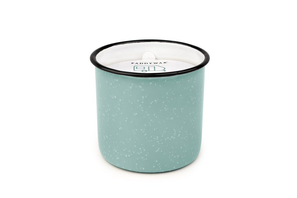 Alpine Collection Soy Wax Candle In Light Blue Enamelware Pot, 9.5-Ounce, Fresh Air & Sea Salt