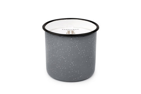 Alpine Collection Soy Wax Candle Grey Enamelware Pot, 9.5-Ounce, Leather & Oak