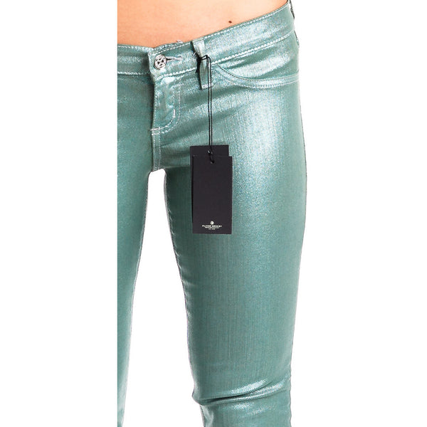 Flying Monkey L7436 Sea Green Metallic Skinny Jeans - Anonymous L.A. - 2